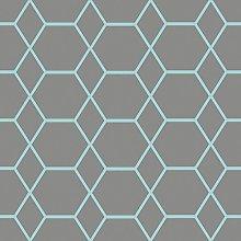 Casca Geometric Wallpaper Charcoal/Blue Muriva