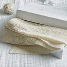 Cashmere Christening Baby Blanket, Porcelain, One
