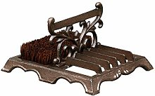 Cast Iron Boot Brush - Brown Coir Bristle Double