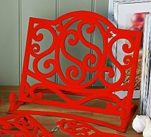 Cast Iron Cookbook Stand Red Kitchen Book Holder