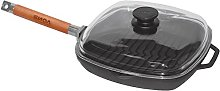 Cast Iron Grill Pan Skillet 28 cm Removable Handle