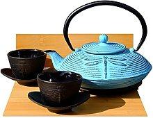 Cast Iron Light Blue Dragonfly Tea Set D -