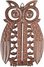 Cast Iron Owl Thermometer Brown Cottage Country