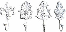 CAST Iron Wall Hooks 4PCS White Shabby Chic -