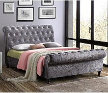 Castello Fabric Double Bed In Steel Crushed Velvet