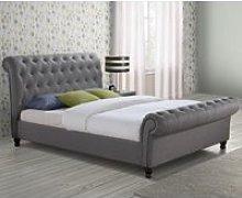 Castello Grey Fabric Scroll Sleigh Bed Frame -