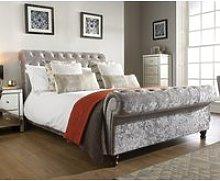 Castello Steel Fabric Scroll Sleigh Bed Frame -