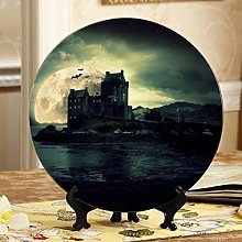 Castle Scenery with Full Moon Art Plate Display