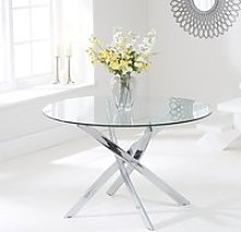 Castola Round Small Glass Dining Table With Chrome