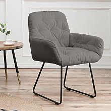 Casual Linen Padded Armchair, Grey