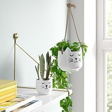 Cat 2 Piece Ceramic Plant Pot and Hanging Basket