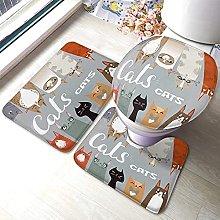 Cat Bathmat,Funny Cartoon Family Cats Design] 3