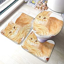 Cat Bathmat,Funny Cute Cat 3 Piece Bathroom Rug