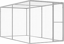Cat Cage 3x1.5x1.5 m Galvanised Steel - Silver -