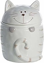 Cat Cookie Jar Biscuit Barrel Ceramic White, Large