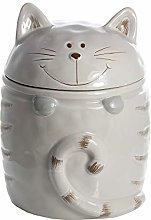 Cat Cookie Jar Biscuit Barrel with Lid Ceramic