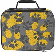 Cat Dog Gray Yellow Paws Footprints Insulated