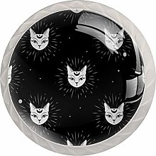 Cat Face with Moon Night Sky Solid Kitchen Cabinet