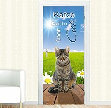 Cat, Flowers Door Sticker East Urban Home