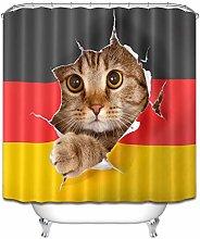 Cat German Flag Shower Curtain Set for Bathroom