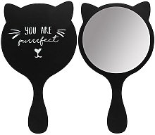 Cat Handheld Mirror (One Size) (Black) - Something Different