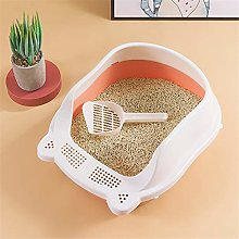 Cat Litter Box Pet Litter Tray Semi-Enclosed