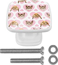 Cat Pattern Pink Drawer knobs 4 Pack Round Glass