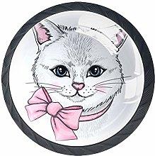 Cat Pink Bow Crystal Drawer Handles Furniture