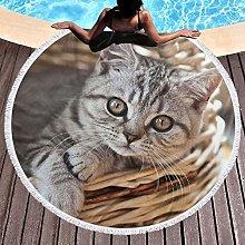 Cat Printed Round Beach Towel Yoga Picnic Mat
