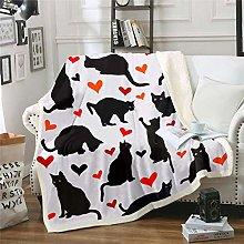 Cat Sherpa Blanket Cartoon Black Cat Print Fleece
