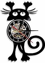 Cat Wall Clock for Pet OwnerFun Kitten Wall Art