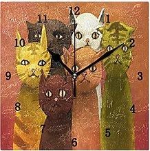 Cat Wall Clock, Silent Non Ticking Battery
