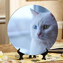 Cat with 2 Different-Colored Eyes Decor Plate