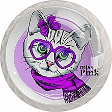 Cat with Pink Glasses Scarf and Bow 4 Pack Round