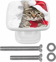 Cat with Red Hat Near Christmas Tree Drawer Knob