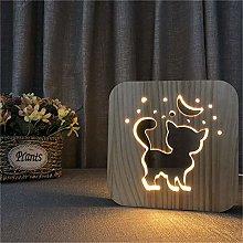 Cat Wooden USB Sleeping WarmWhite 3D LED Night