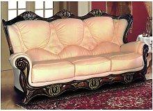 Catania 3 Seater Italian Leather Sofa Cream