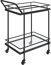 Catering Glass Serving Trolley Metal Frame Easy to