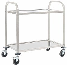 Catering Trolley,2-Tier Detachable Serving Trolley