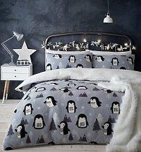 Catherine Lansfield Cosy Penguin Fleece Bedding