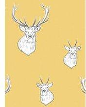 Catherine Lansfield Stag Ochre Wallpaper - Ochre