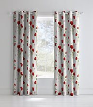Catherine Lansfield Wild Poppies Lined Curtains -