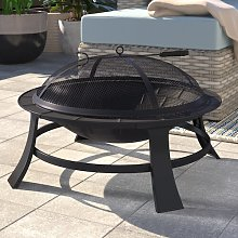 Cathryn Outdoor Steel Charcoal/Wood Burning Fire