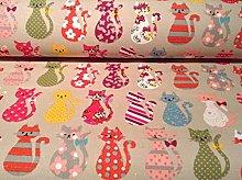 CATS Designer Fabric Cat Animal Print Material -