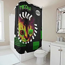 Cats Green Black Shower Curtain With Hooks Liner