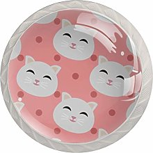 Cats Pattern Round Cabinet Knobs 4pcs Knobs for