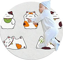 Cats, Round Rug Throw Area Rug Soft Fashion Look