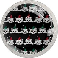 Cats with Christmas Hat Pattern (4 Pieces) Knobs