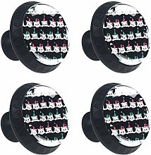 Cats with Christmas Hat Pattern 4PCS Round Drawer