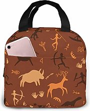 Cave Drawings Theme Cute Lunch Bag,Oxford Cloth
